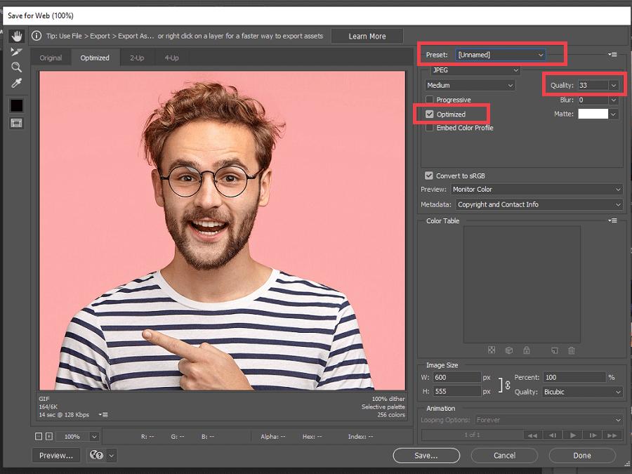 کاهش حجم عکس در فتوشاپ